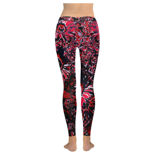 Amazing glowing flowers C by JamColors New Low Rise Leggings (Flatlock Stitch) (Model L07)