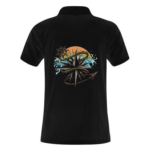 Nautical Splash Men's Polo Shirt (Model T24)