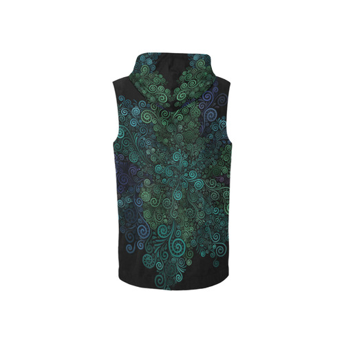 3D Psychedelic Turquoise Rose All Over Print Sleeveless Zip Up Hoodie for Women (Model H16)