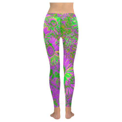 Amazing neon flowers A by JamColors New Low Rise Leggings (Flatlock Stitch) (Model L07)