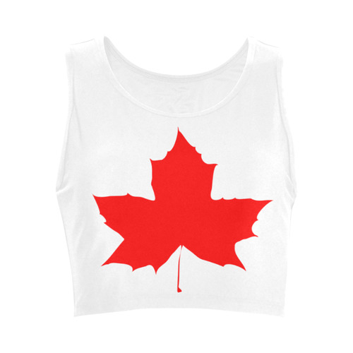 Organic Crop Top with Canada red maple leaf