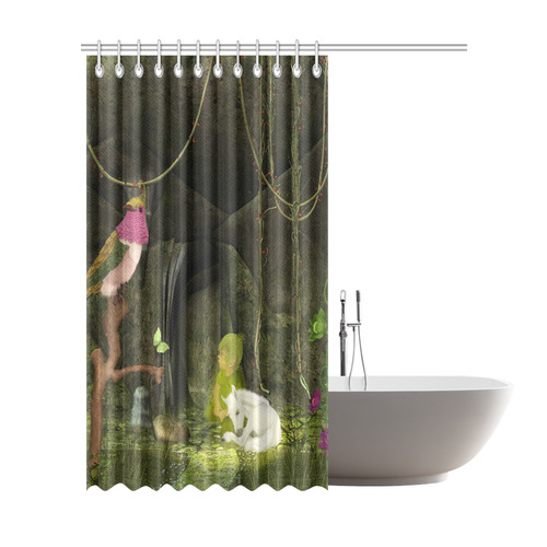 Cute Unicorn Foal And Sweet Elf Shower Curtain