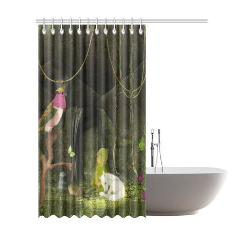 Cute Unicorn Foal And Sweet Elf Shower Curtain