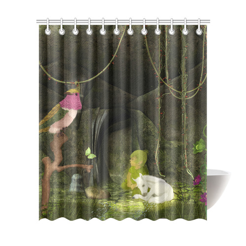 Cute Unicorn Foal And Sweet Elf Shower Curtain 72x84