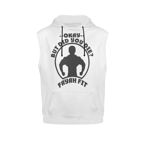 8c95f0250ee2dd Fayah Fit Ladies Sleeveless did you die hoodie white All Over Print  Sleeveless Hoodie for Women (Model H15)