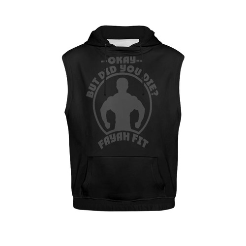 a87b9340dc0a0c Fayah Fit Ladies Sleeveless did you die hoodie black All Over Print  Sleeveless Hoodie for Women (Model H15)