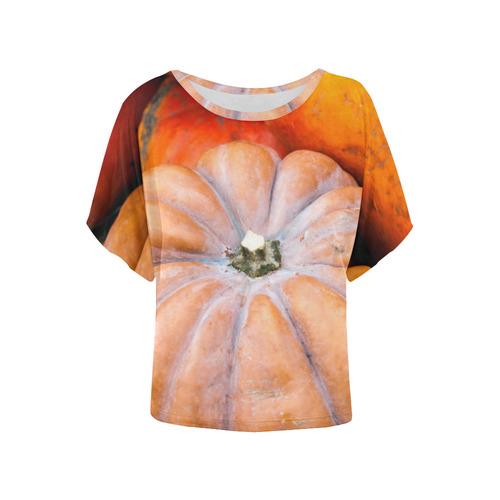 a49eb006 Pumpkin Halloween Thanksgiving Crop Holiday Fall Women's Batwing-Sleeved  Blouse T shirt (Model T44) | ID: D1935168