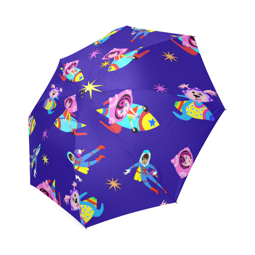 Spaceship Betty zipping through Space Foldable Umbrella (Model U01)