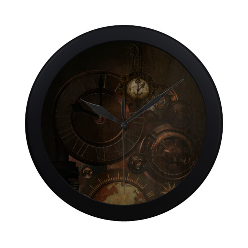 Vintage gothic brown steampunk clocks and gears Circular Plastic Wall clock