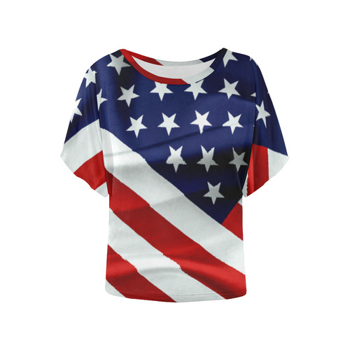 2497d19b9d32 America Flag Banner Patriot Stars Stripes Freedom Women s Batwing-Sleeved  Blouse T shirt (Model T44)