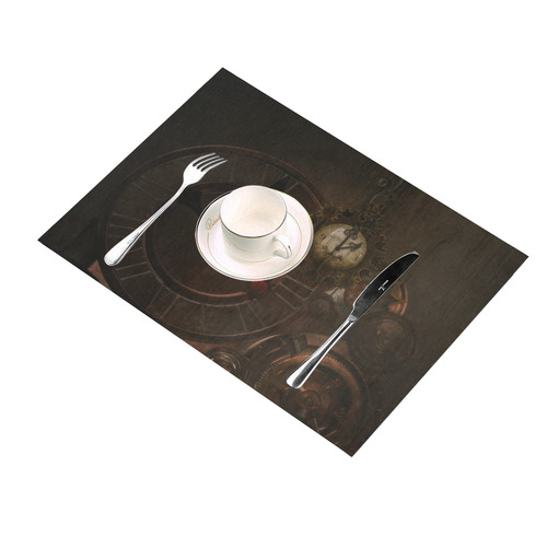 Vintage gothic brown steampunk clocks and gears Placemat 14'' x 19''