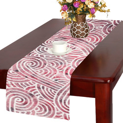 Burgundy Red And White Swirls Doodles Table Runner 14x72 Inch