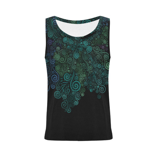 3D Psychedelic Turquoise All Over Print Tank Top for Women (Model T43)