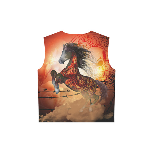 Awesome creepy horse with skulls All Over Print Sleeveless Hoodie for Women (Model H15)