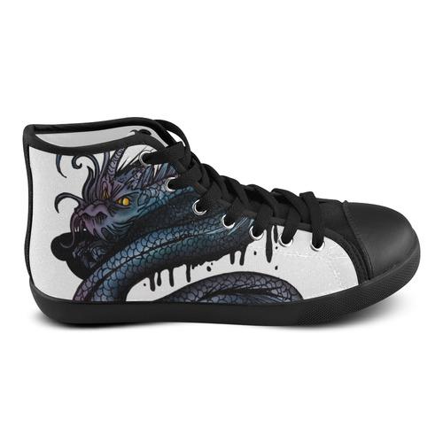 Dragon Swirl Men's High Top Canvas Shoes (Model 002)