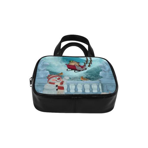 Funny snowman with Santa Claus Leather Top Handle Handbag (Model 1662)