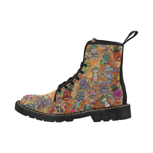 Gothic Sugar Skull Pattern I Martin Boots for Kids (Black) (Model 1203H)