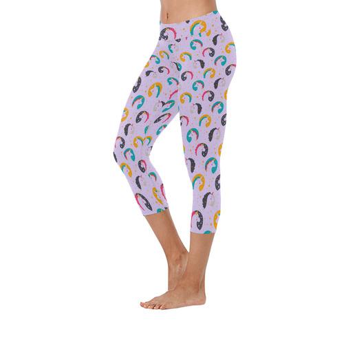 Cute Unicorns Pattern New Low Rise Capri Leggings (Flatlock Stitch) (Model L09)