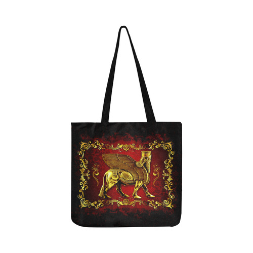 Red and Gold Lamassu Tote Bag Reusable Shopping Bag Model 1660 (Two sides)