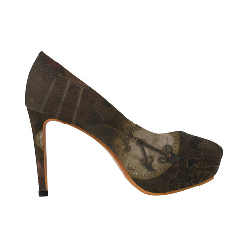 Vintage gothic brown steampunk clocks and gears Women's High Heels (Model 044)