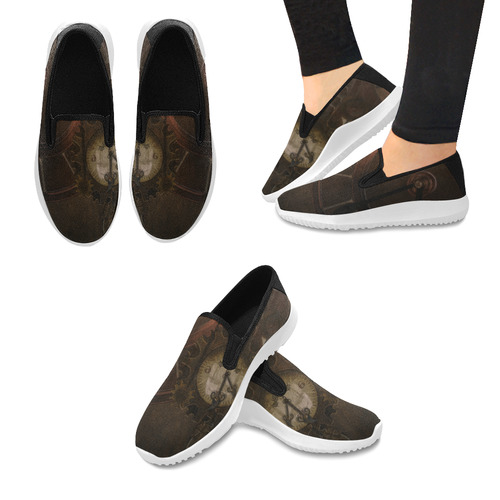 Vintage gothic brown steampunk clocks and gears Orion Slip-on Women's Canvas Sneakers (Model 042)