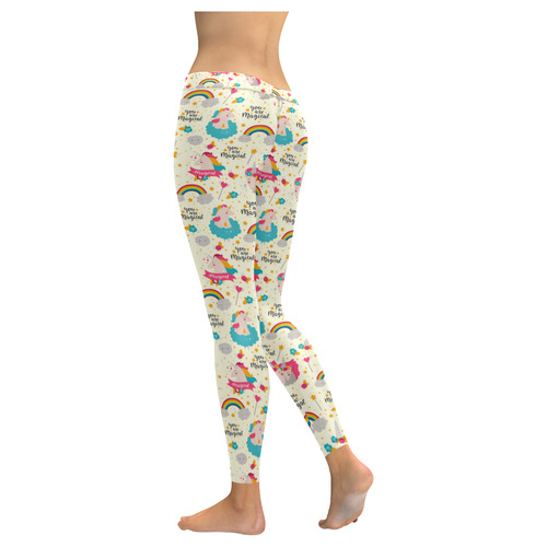 You Are Magical Unicorns Pattern New Low Rise Leggings (Flatlock Stitch) (Model L07)