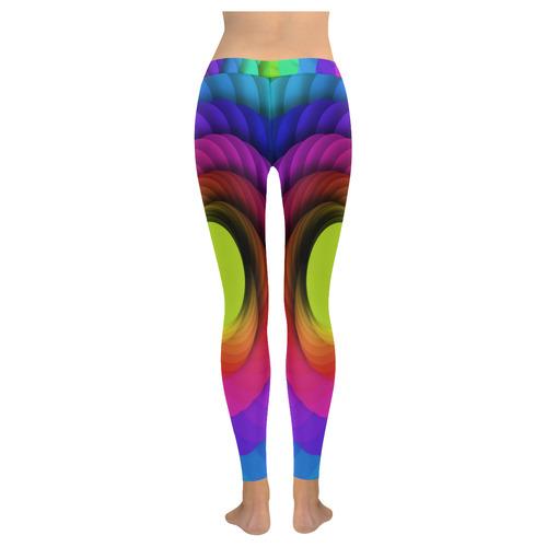 Psychodelic Spirale In Rainbow Colors New Low Rise Leggings (Flatlock Stitch) (Model L07)