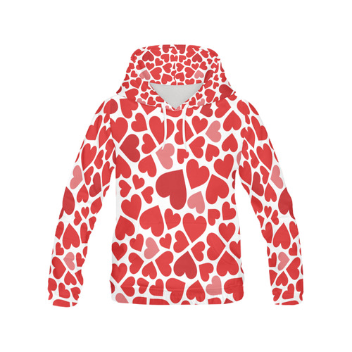 genuine shoes pretty nice best sneakers red and pink hearts hoodie All Over Print Hoodie for Women (USA ...