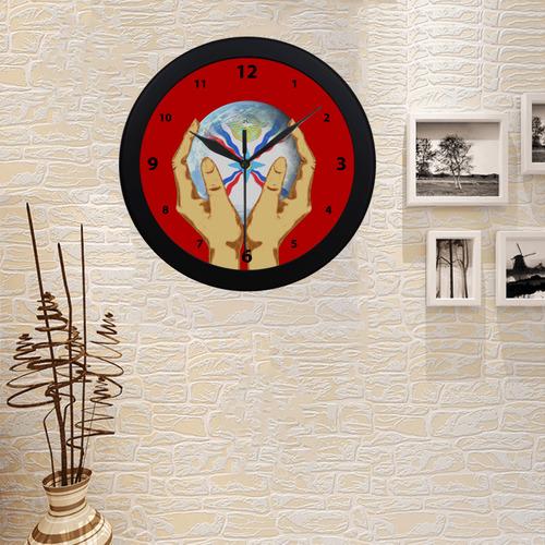 Assyrian Flag Round Clock Circular Plastic Wall clock