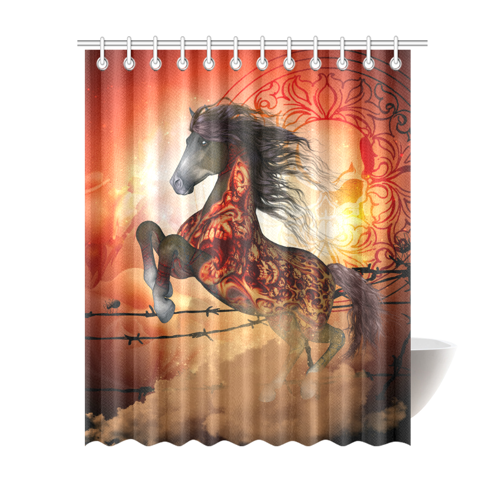 Awesome Creepy Horse With Skulls Shower Curtain 69x84