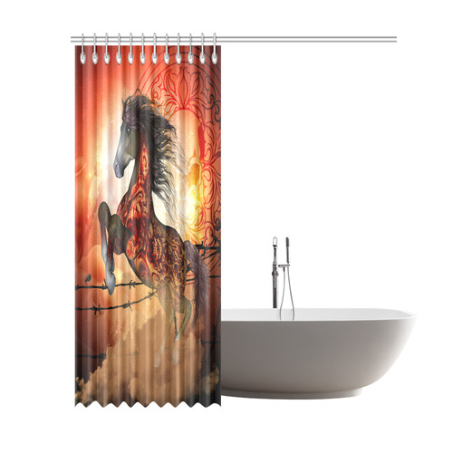 Awesome Creepy Horse With Skulls Shower Curtain