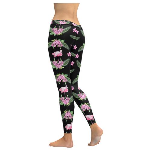 Tropical Flamingo Pattern I New Low Rise Leggings (Flatlock Stitch) (Model L07)