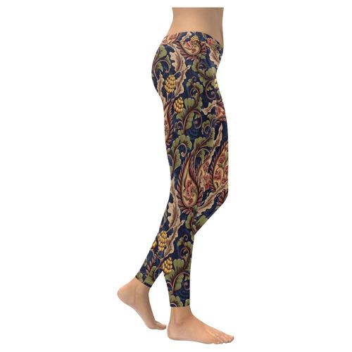 Floral Retro Wallpaper I New Low Rise Leggings (Flatlock Stitch) (Model L07)