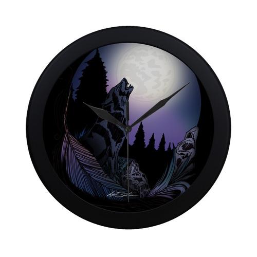 Howling Wolf Circular Plastic Wall clock