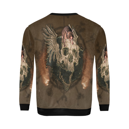 Awesome skull with rat All Over Print Crewneck Sweatshirt for Men (Model H18)