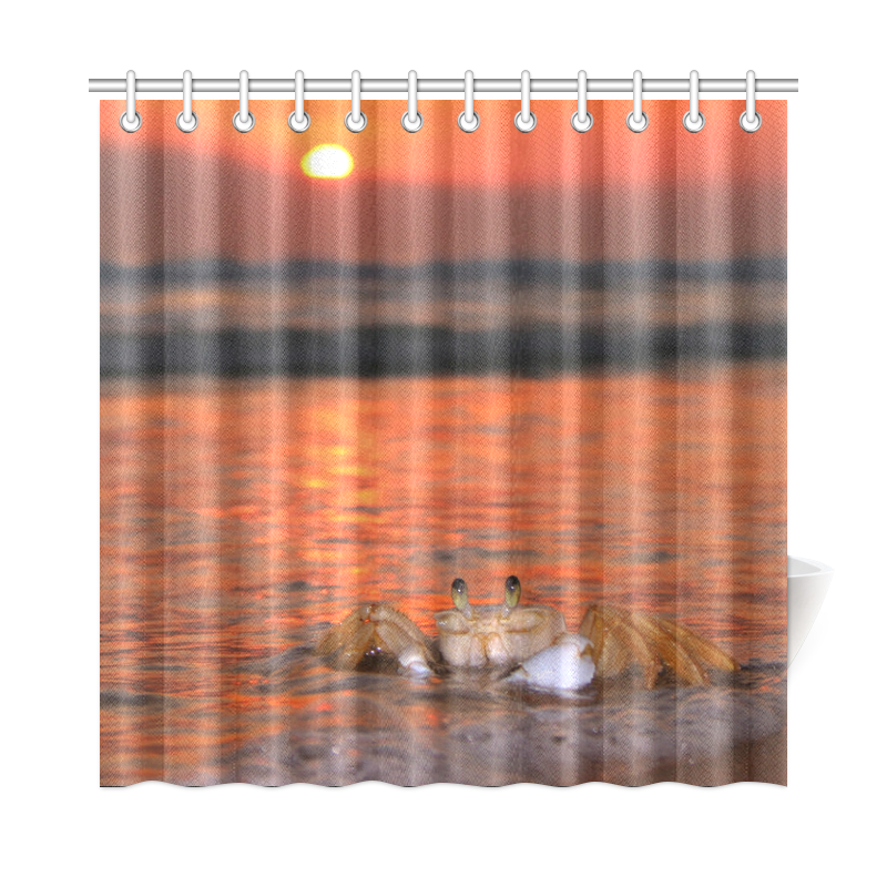 Image Is Loading New Coming Bath Curtain Crab On Beach At