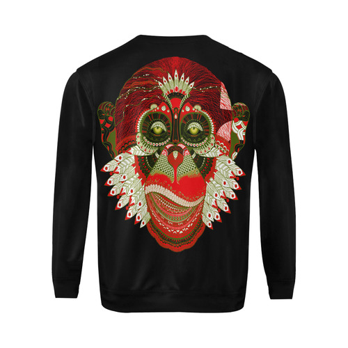 Monkey Sugar Skull All Over Print Crewneck Sweatshirt for Men (Model H18)