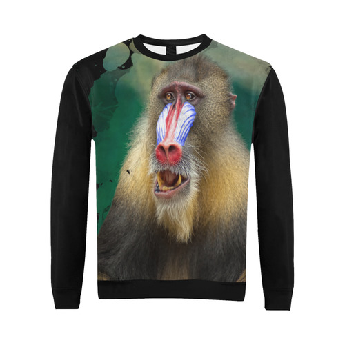 An Awesome Colorful Mandrill All Over Print Crewneck Sweatshirt for Men (Model H18)
