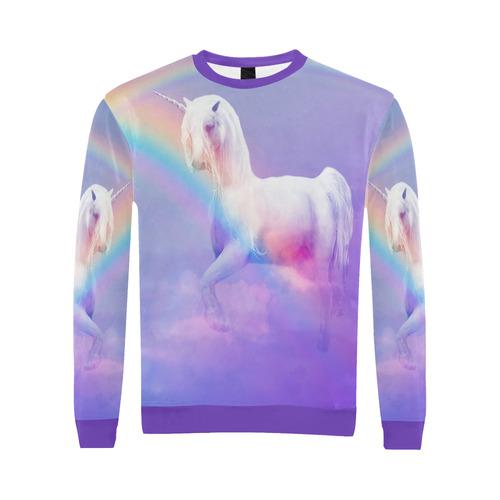 Unicorn and Rainbow All Over Print Crewneck Sweatshirt for Men (Model H18)