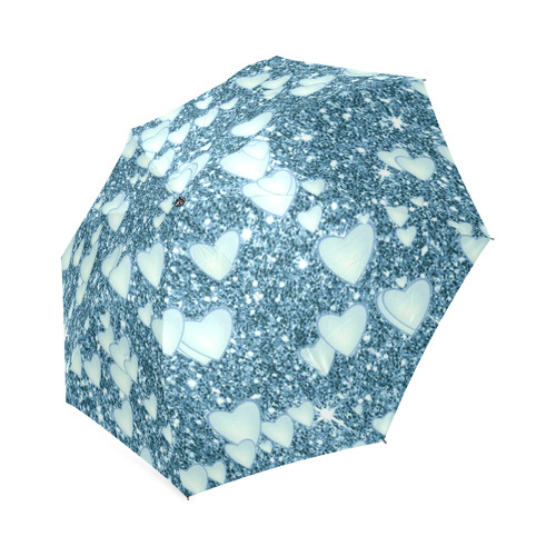 6a3e883b9 Hearts on Sparkling glitter print, teal Foldable Umbrella (Model U01)