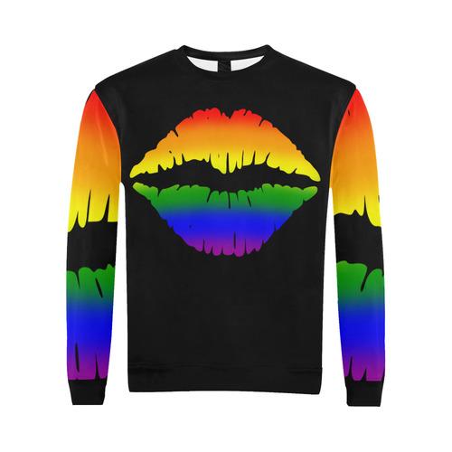 Gay Pride Kiss All Over Print Crewneck Sweatshirt for Men (Model H18)