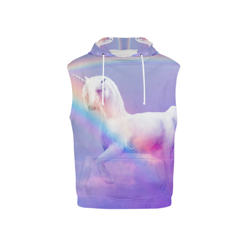 Unicorn and Rainbow All Over Print Sleeveless Hoodie for Kid (Model H15)