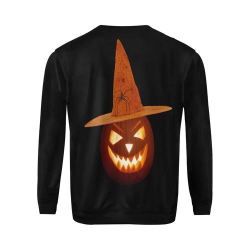Pumpkin Witch All Over Print Crewneck Sweatshirt for Men (Model H18)