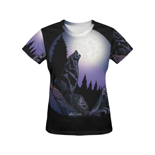 Howling Wolf All Over Print T-Shirt for Women (USA Size) (Model T40)