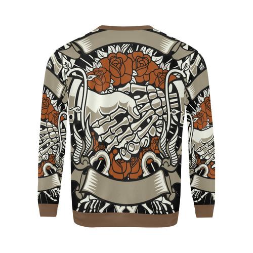 Otherside Brown All Over Print Crewneck Sweatshirt for Men (Model H18)