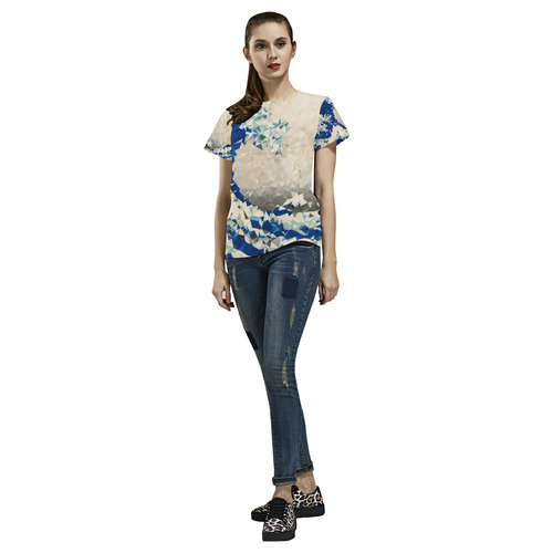 Great Wave Off Kanagawa Hokusai Triangles All Over Print T-Shirt for Women (USA Size) (Model T40)