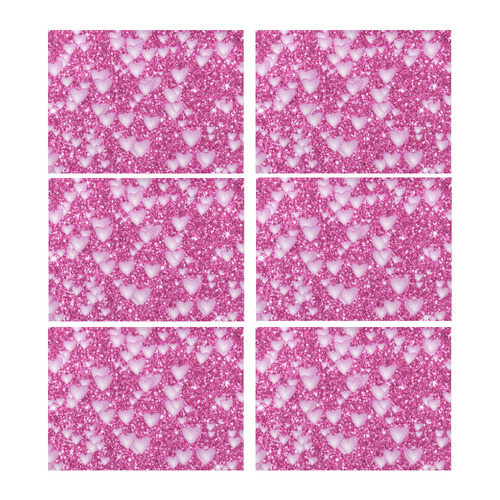 33b2619a2 Hearts on Sparkling glitter print, pink Placemat 14'' x 19'' (Six Pieces)