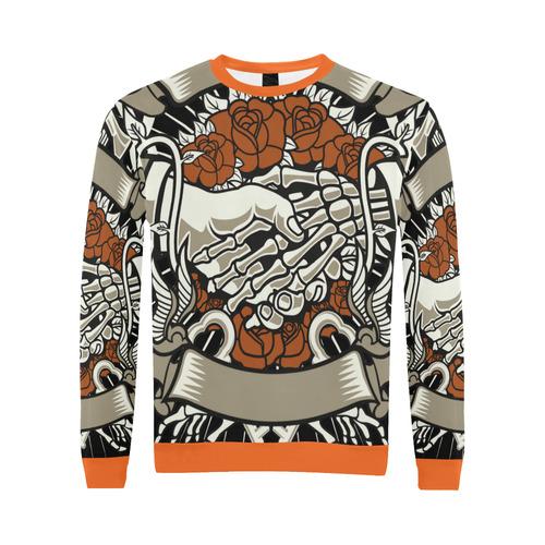 Otherside Orange All Over Print Crewneck Sweatshirt for Men (Model H18)