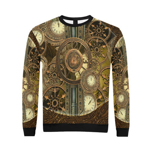 Steampunk clocks and gears All Over Print Crewneck Sweatshirt for Men (Model H18)