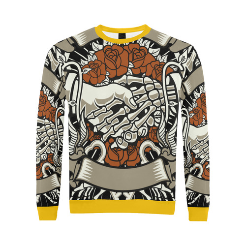 Otherside Yellow All Over Print Crewneck Sweatshirt for Men (Model H18)